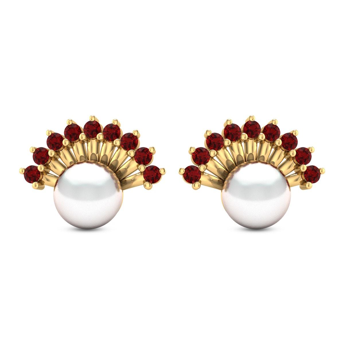 Ruby Frill Pearl Stud Earrings