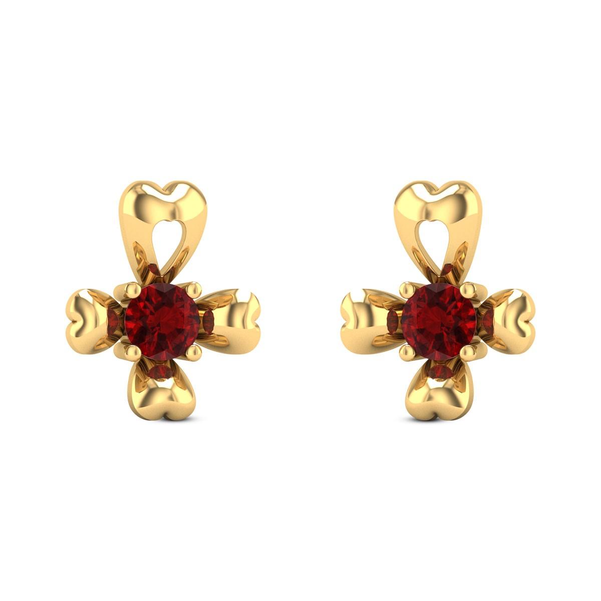 Impatiens Ruby Stud Earrings