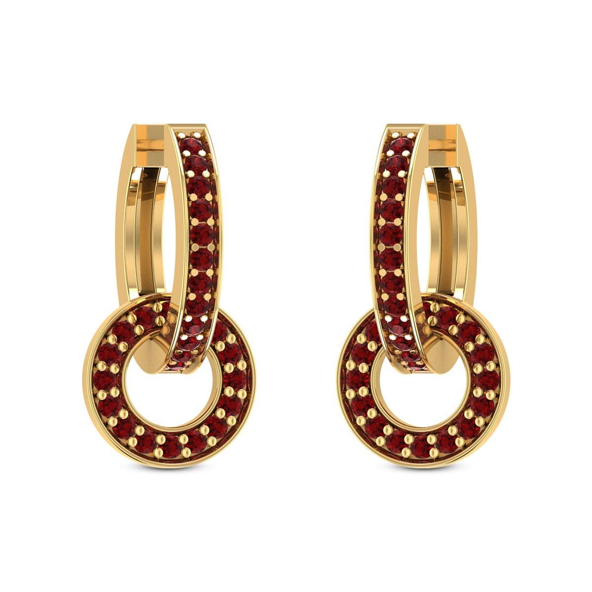 Interlocked Ruby Hoop Earrings
