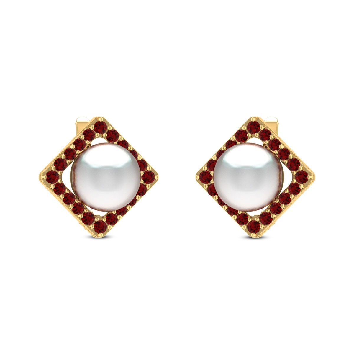 Bahar Ruby Pearl Stud Earrings