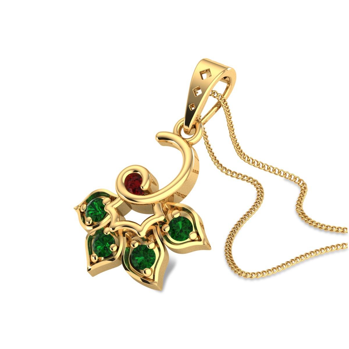 Antigone Emerald Floral Pendant