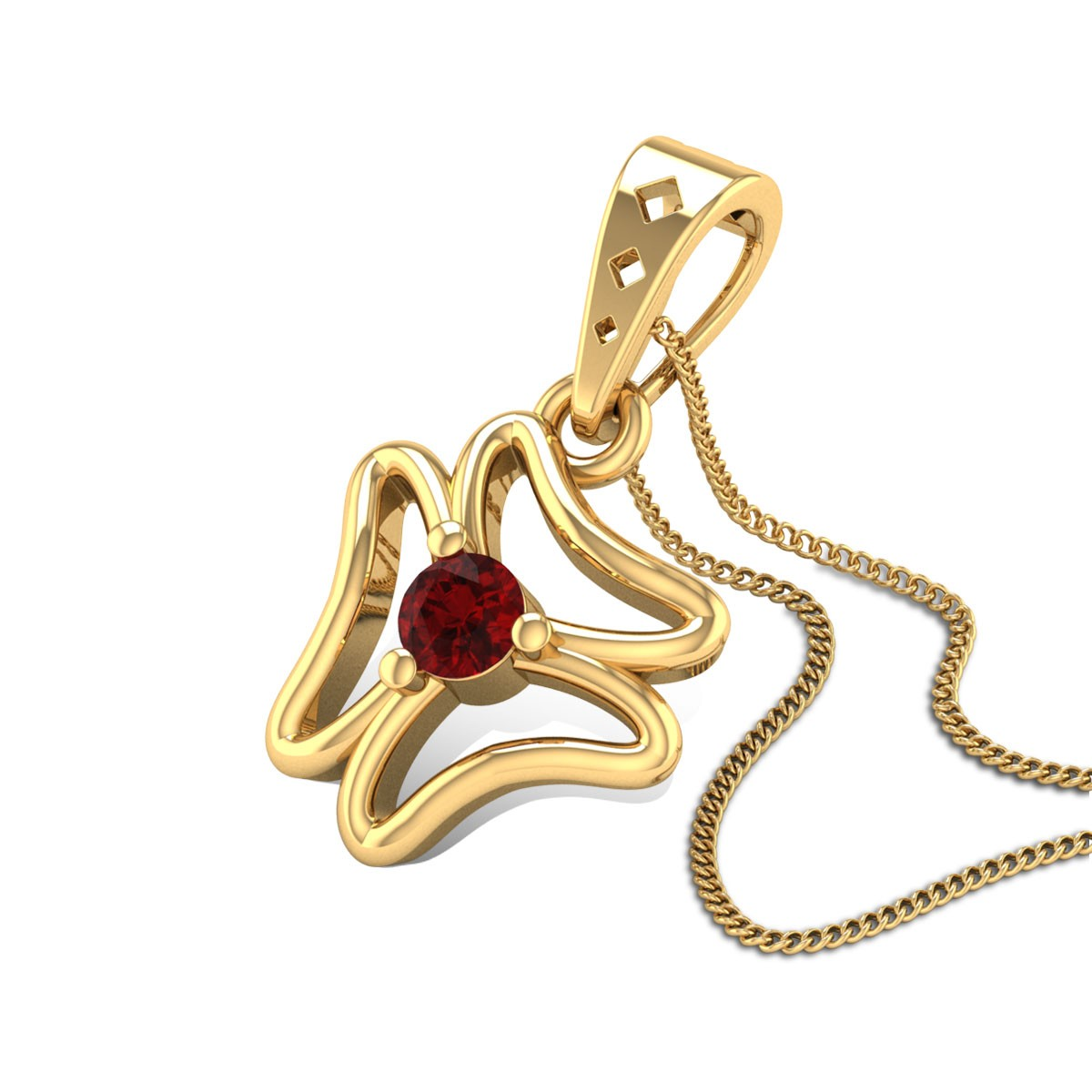 Aalok Ruby Floral Pendant