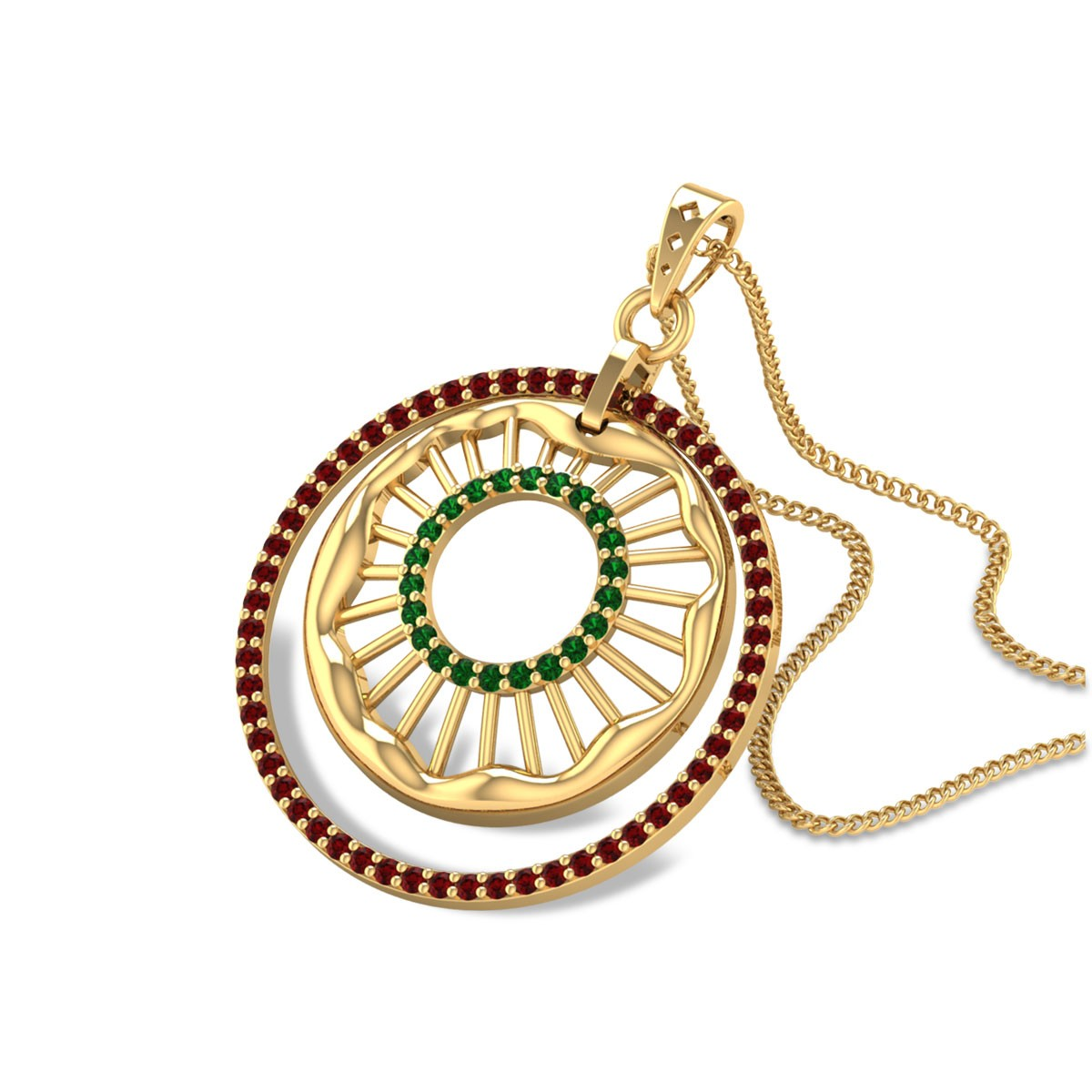 Aavish Ruby and Emerald Pendant