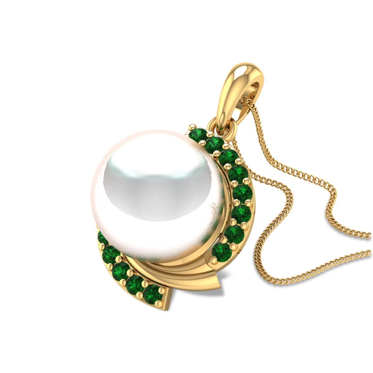 Aabheri Emerald and Pearl Pendant