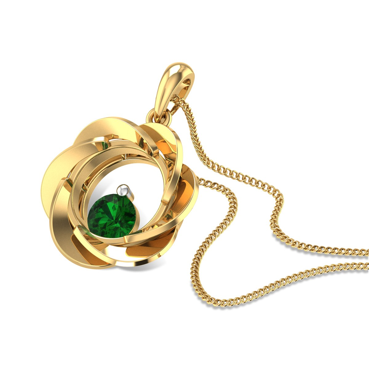 Aamisha Emerald Floral Pendant