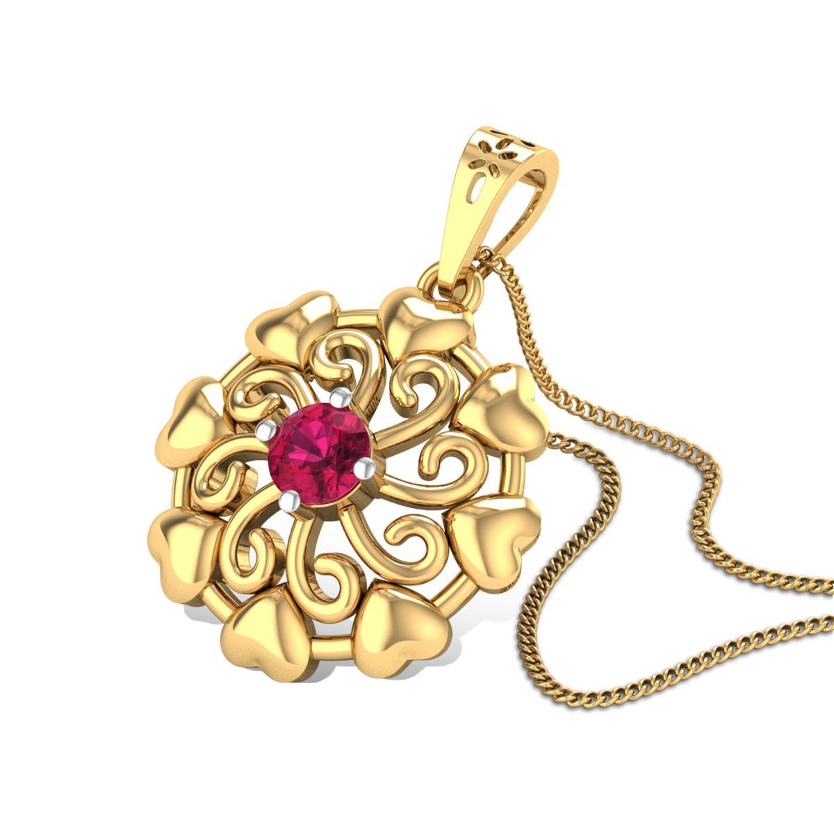 Aatreyi Ruby Floral Pendant