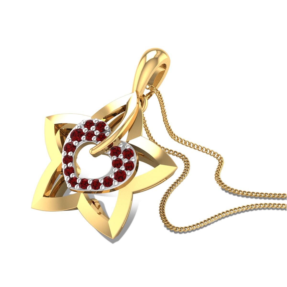 Heart Star Ruby Pendant