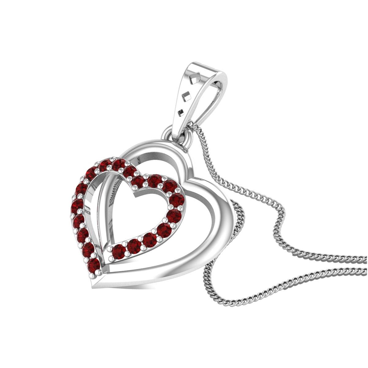 Dual Heart Ruby Pendant