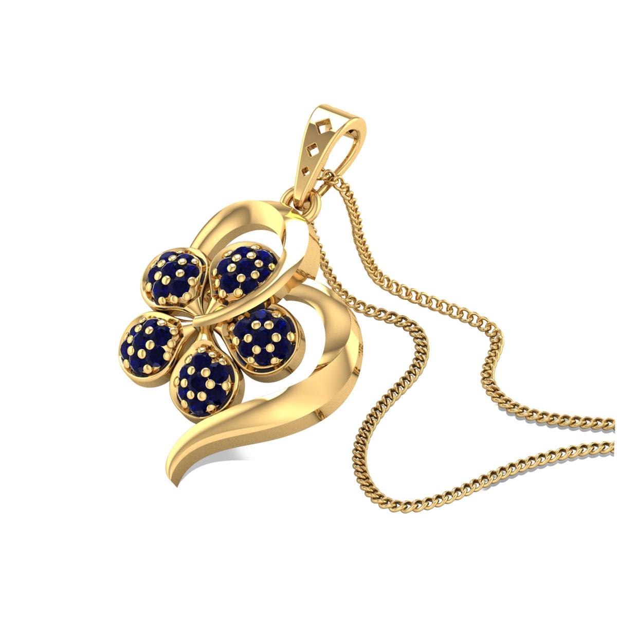 Sapphire Floral Heart Pendant