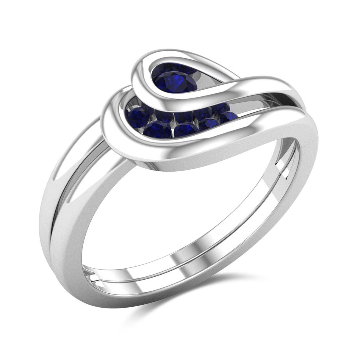 Interlaced Royal Sapphire Gemstone Ring