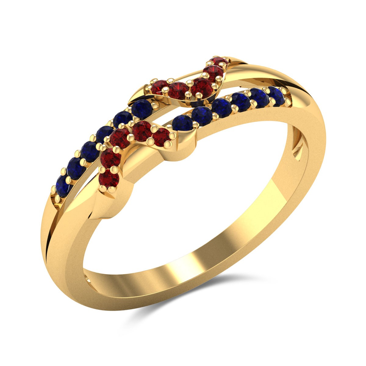 Rhea Sapphire and Ruby Wavy Ring