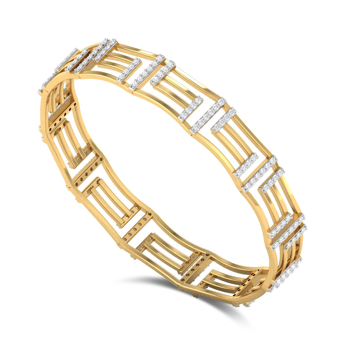 Geometric Linked Diamond Bangle