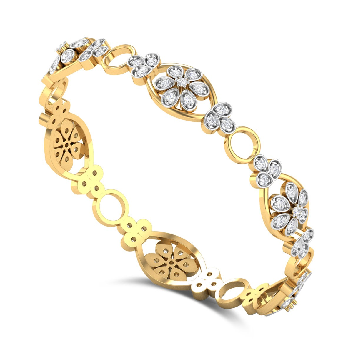 Budding Flower Diamond Bangle