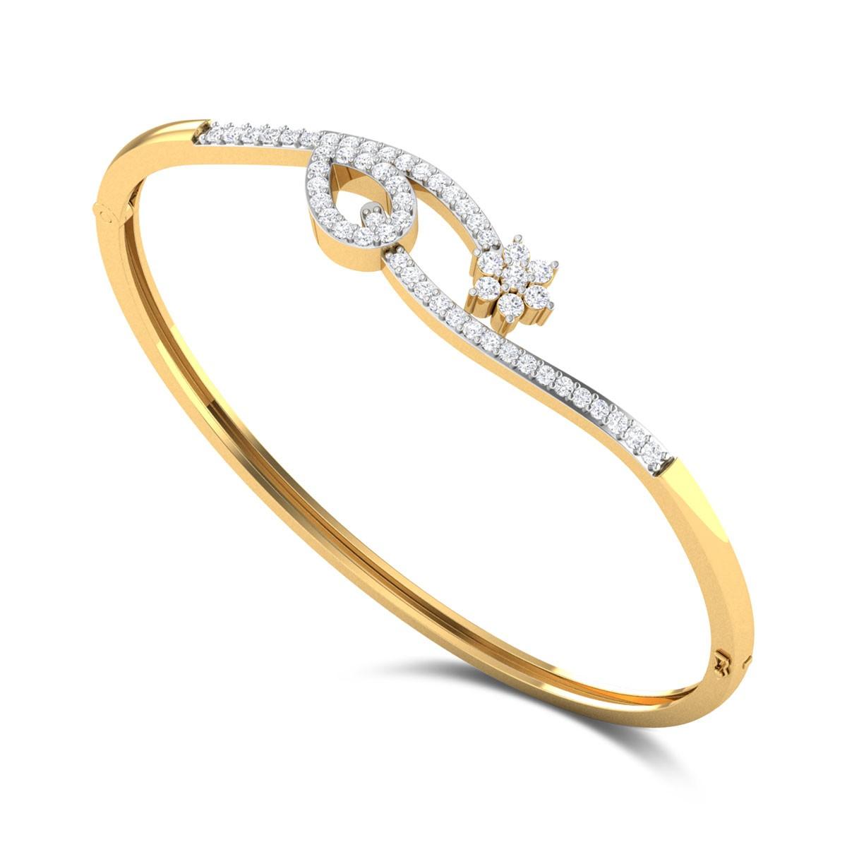 Ambar Floral Openable Diamond Bangle