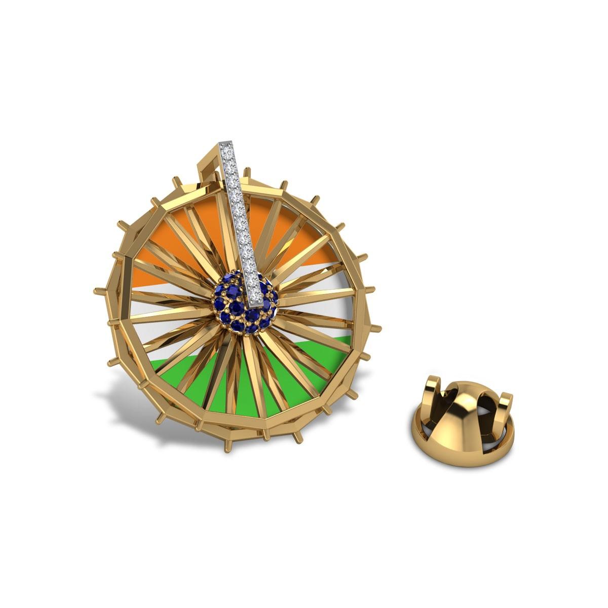 Indian Wheel Diamond Brooch