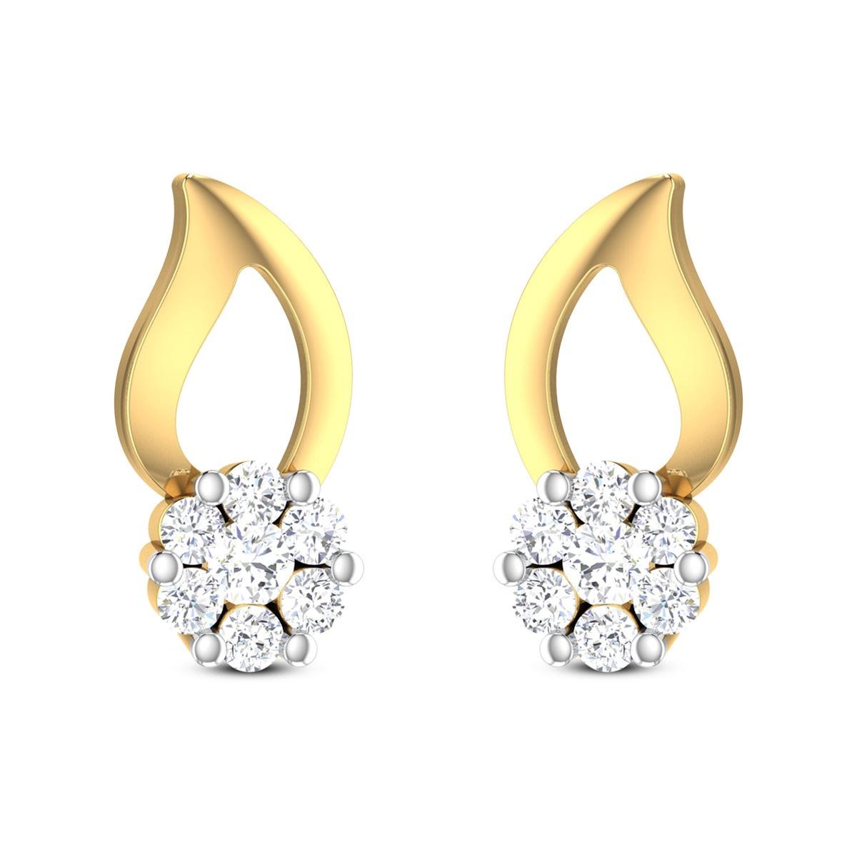 Idalina Floral Diamond Stud Earrings
