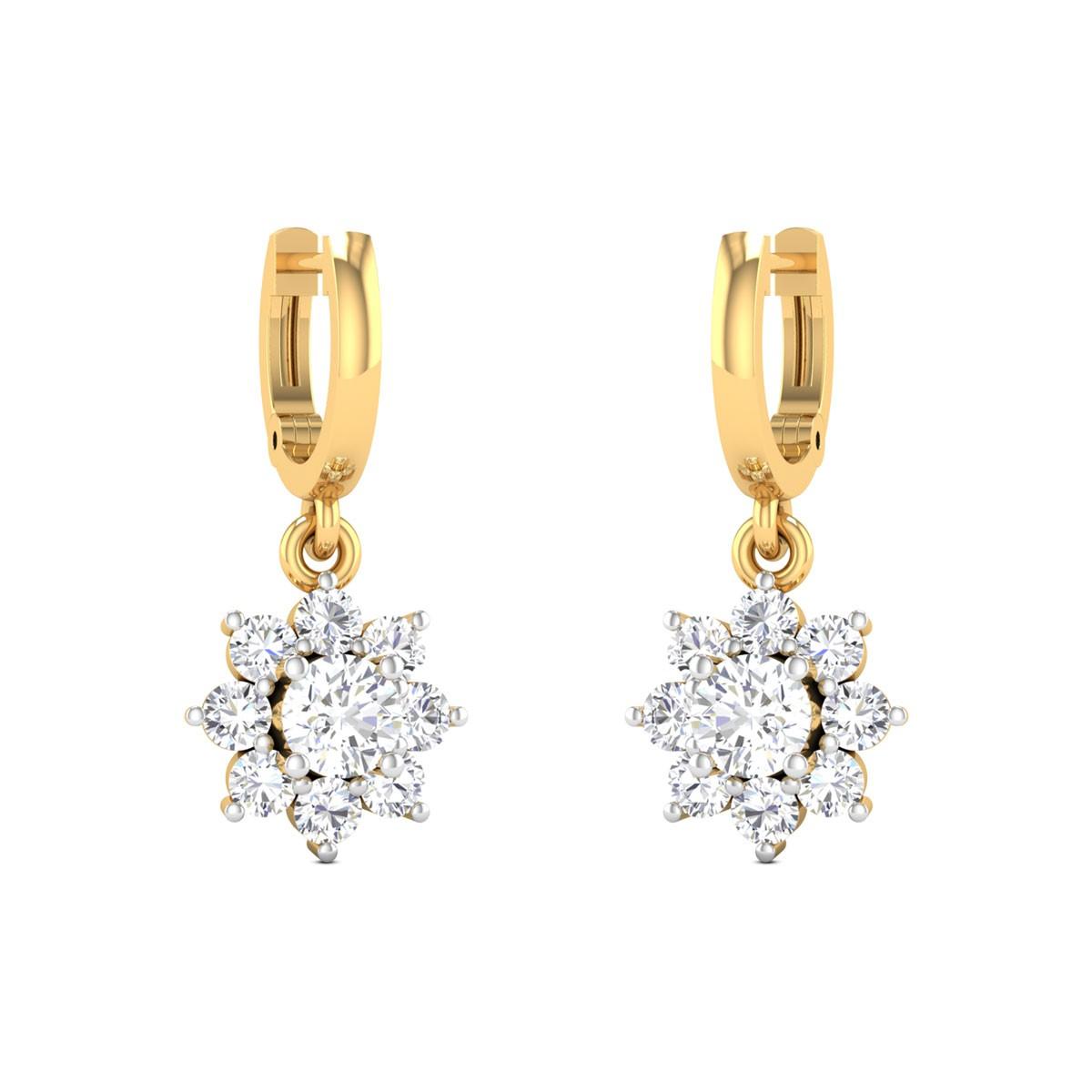 Diamond Flower Drop Hoop Earrings
