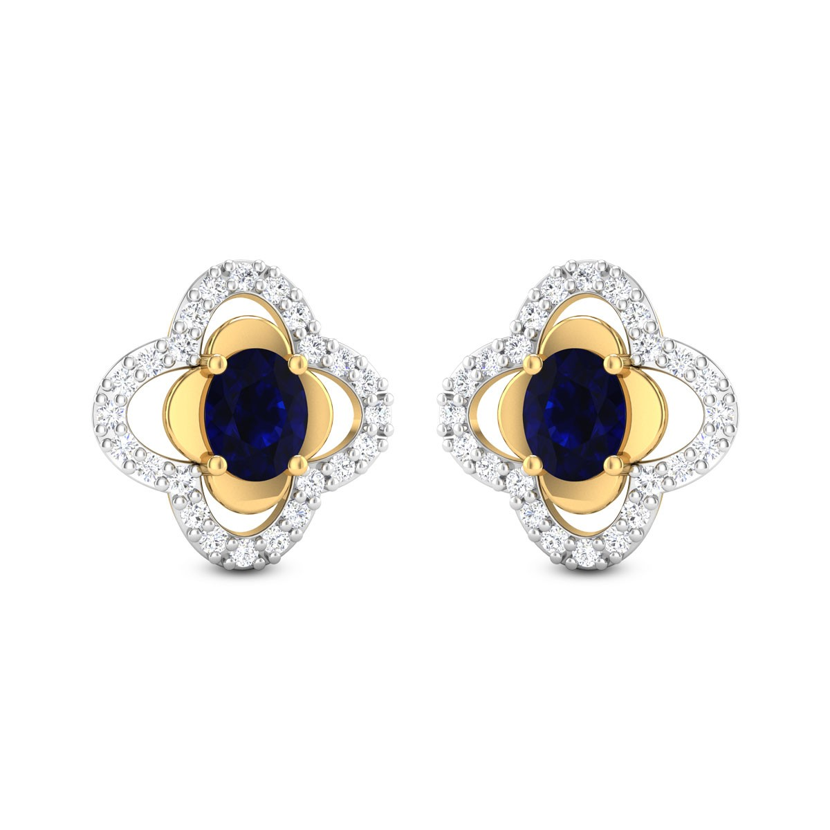 Dual Layer Sapphire Stud Earrings