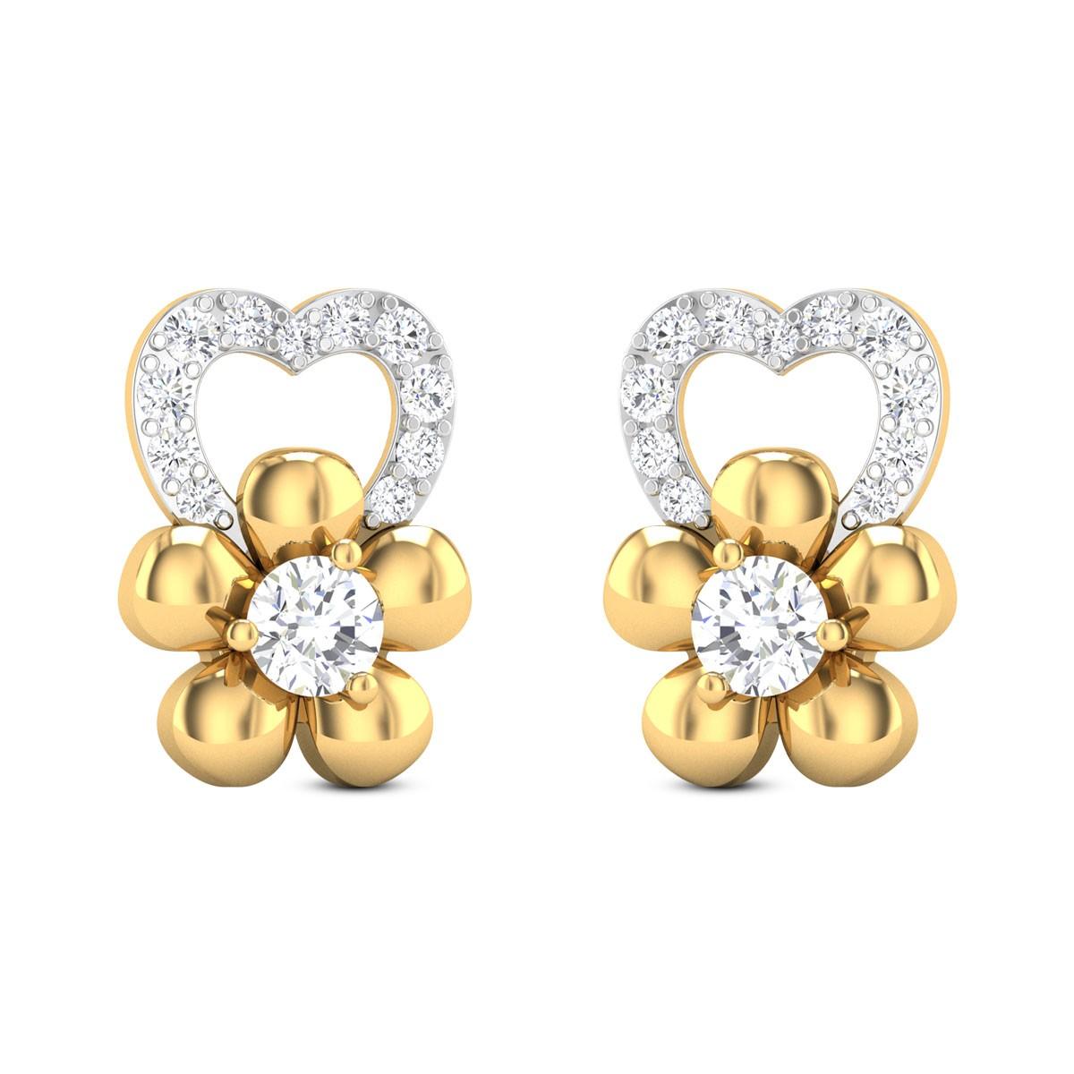 Gul Floral Diamond Stud Earrings
