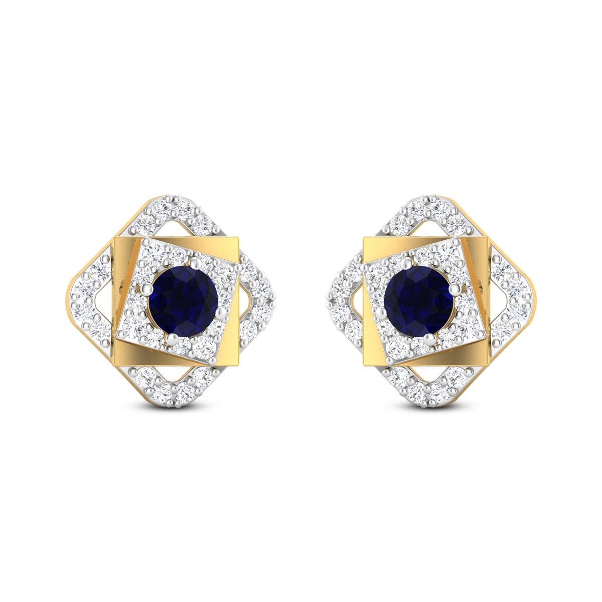Tri Square Sapphire Stud Earrings