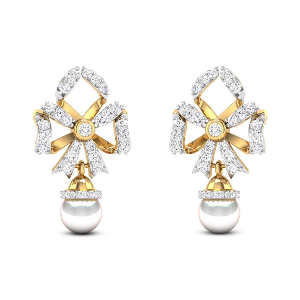 Bowed Pearl Drop Stud Earrings