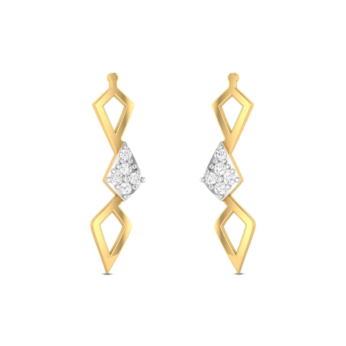 Platonic Solids Diamond Earrings