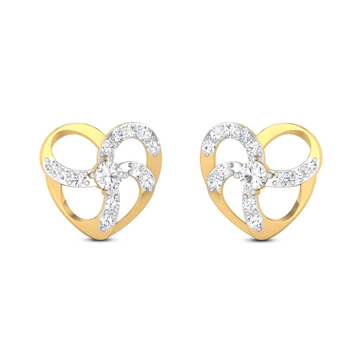 Elettra Heart Diamond Stud Earrings