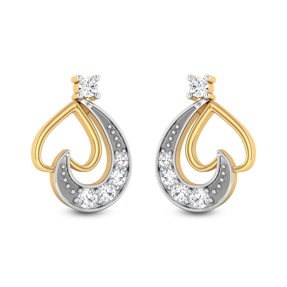 Donatella Heart Diamond Stud Earrings
