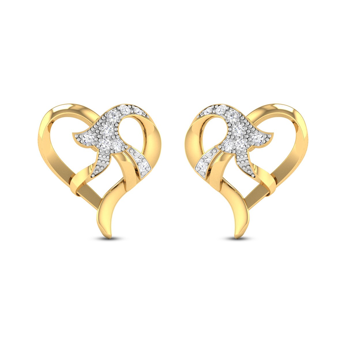 Chiara Bell flower Heart Diamond Stud Earrings