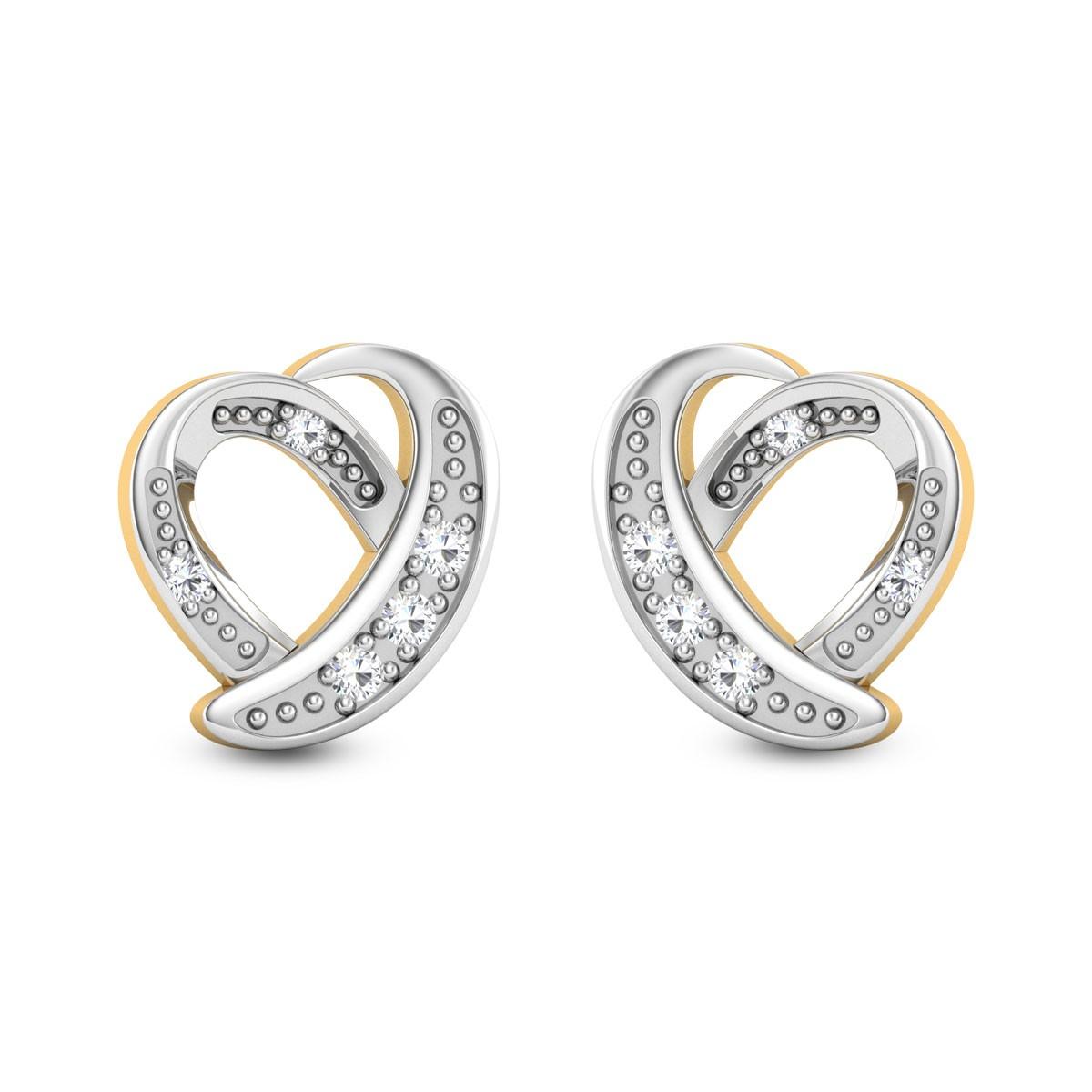 Amata Heart Diamond Stud Earrings