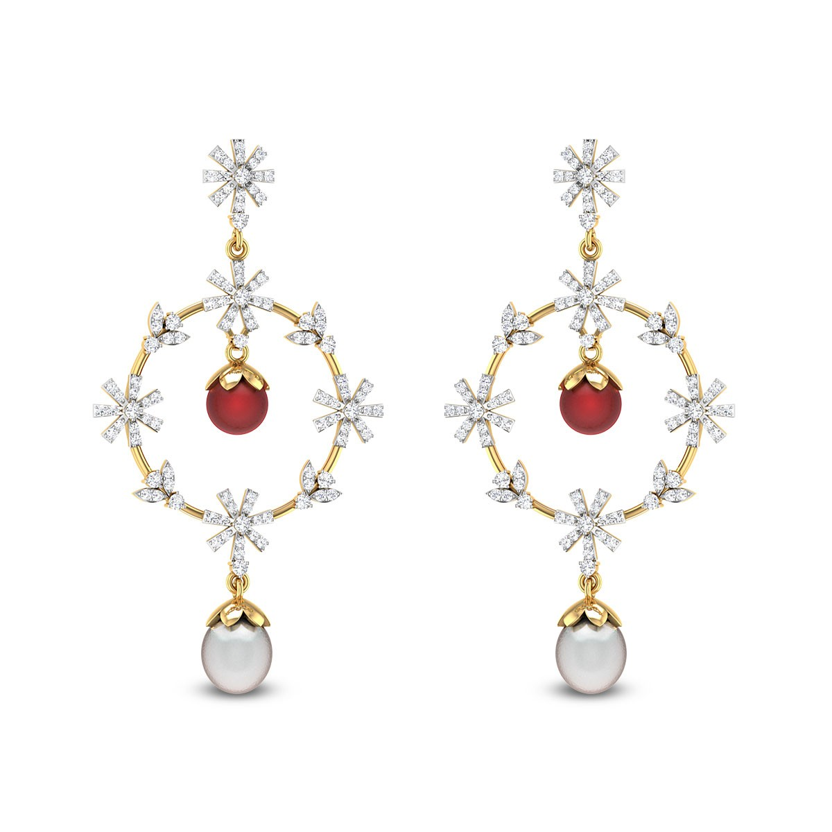 Glittering Pearl Ruby Drop Diamond Earrings