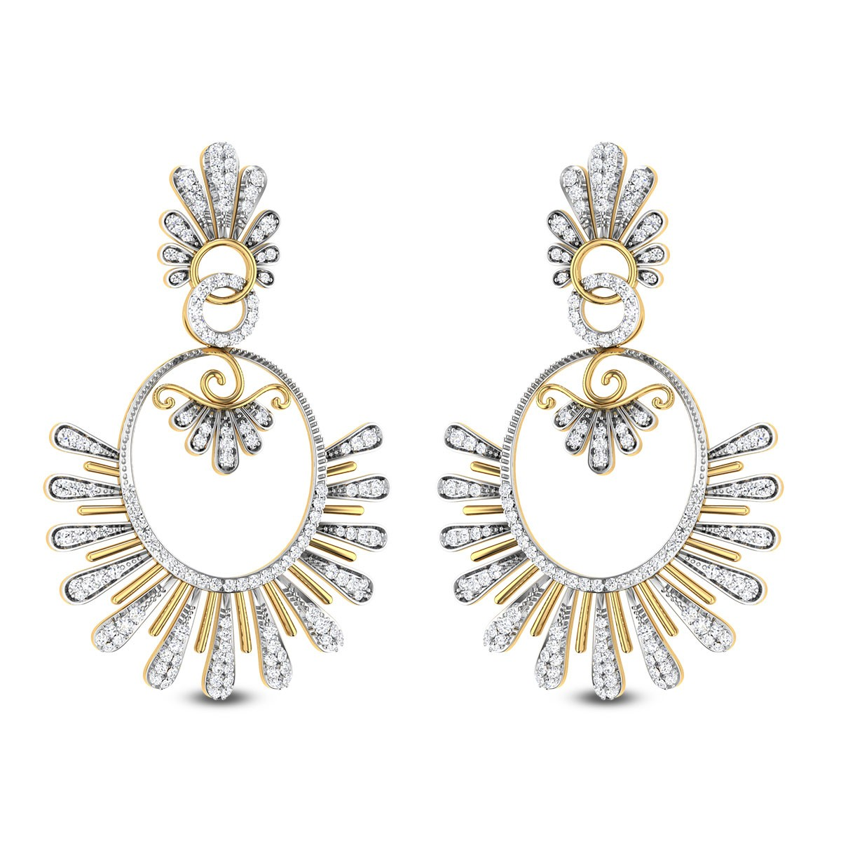 Shimmering Sun Rays Diamond Earrings