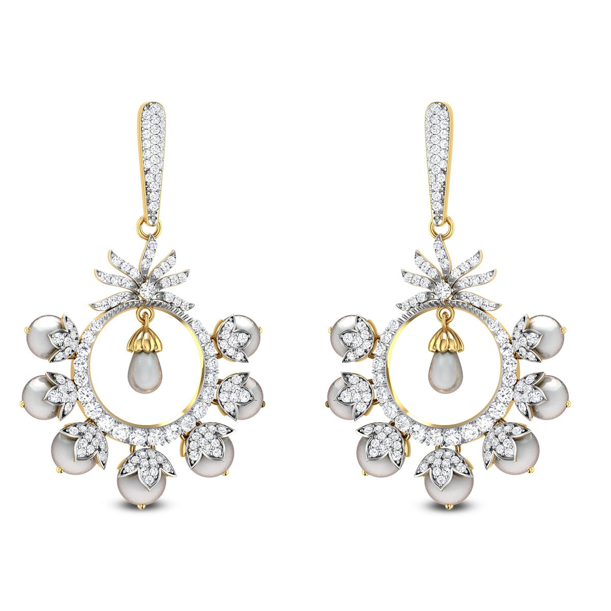 Budding Floral Drop Diamond Earrings