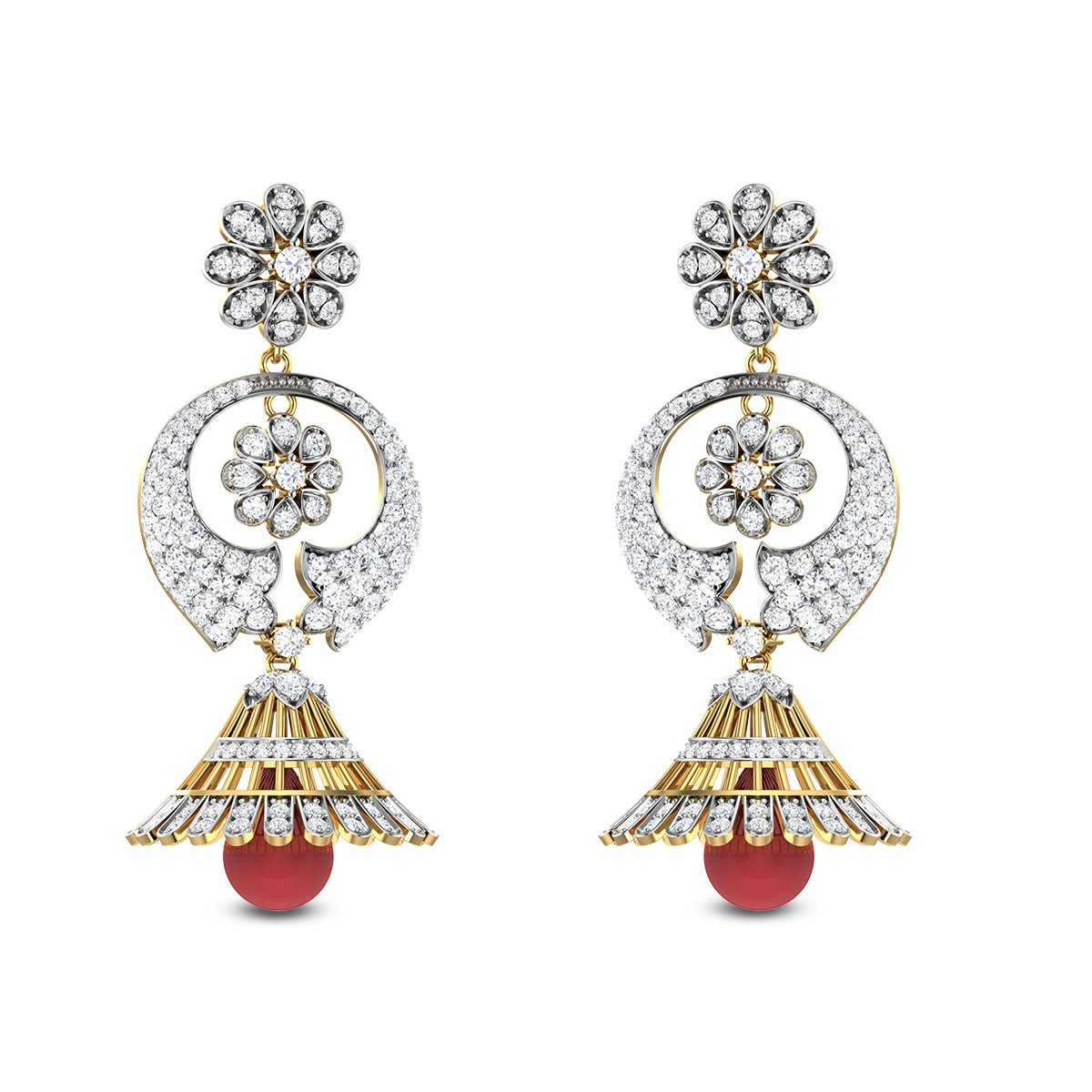 Symphony Harmony Emerald Bell Diamond Earrings