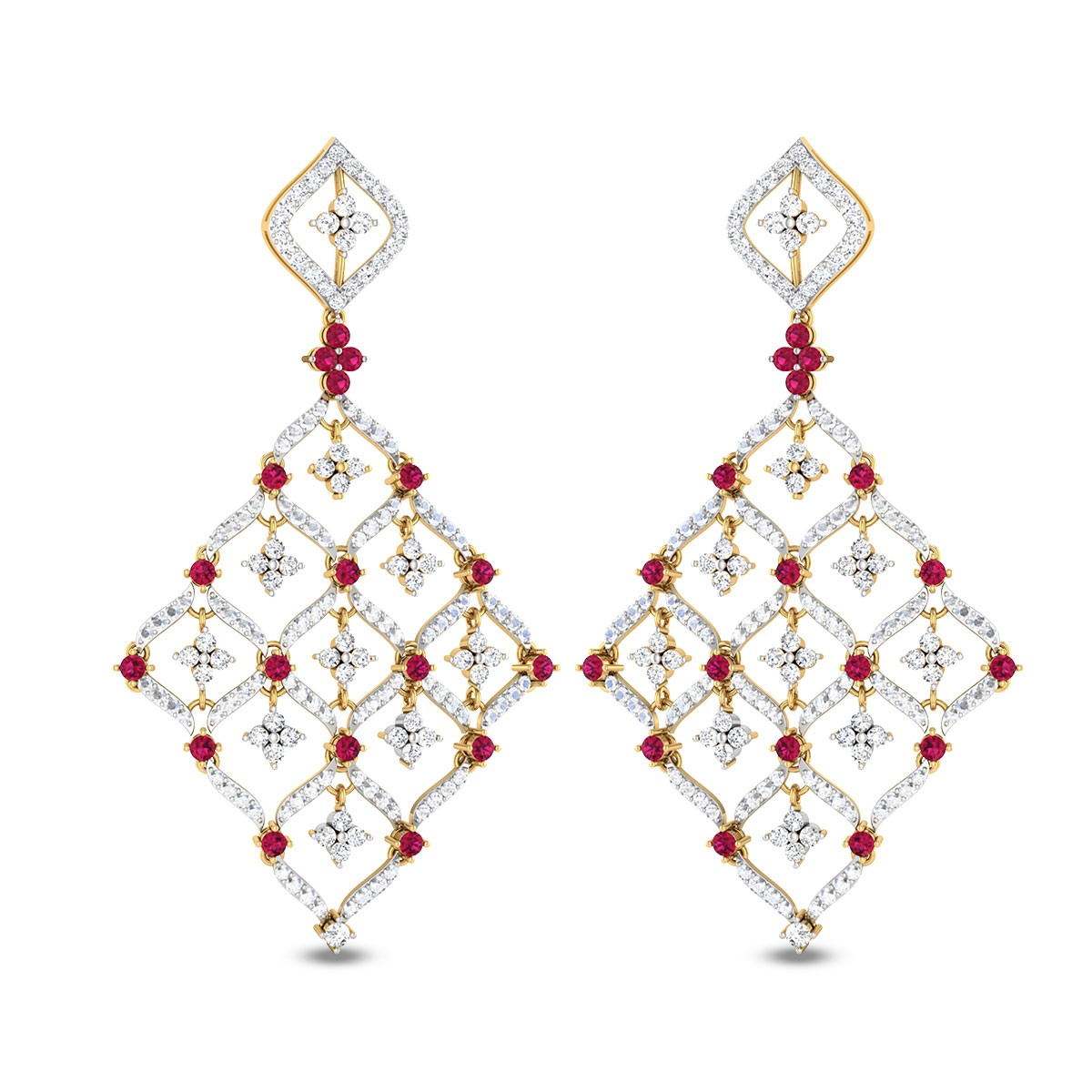 Sequential Ruby Diamond Earrings