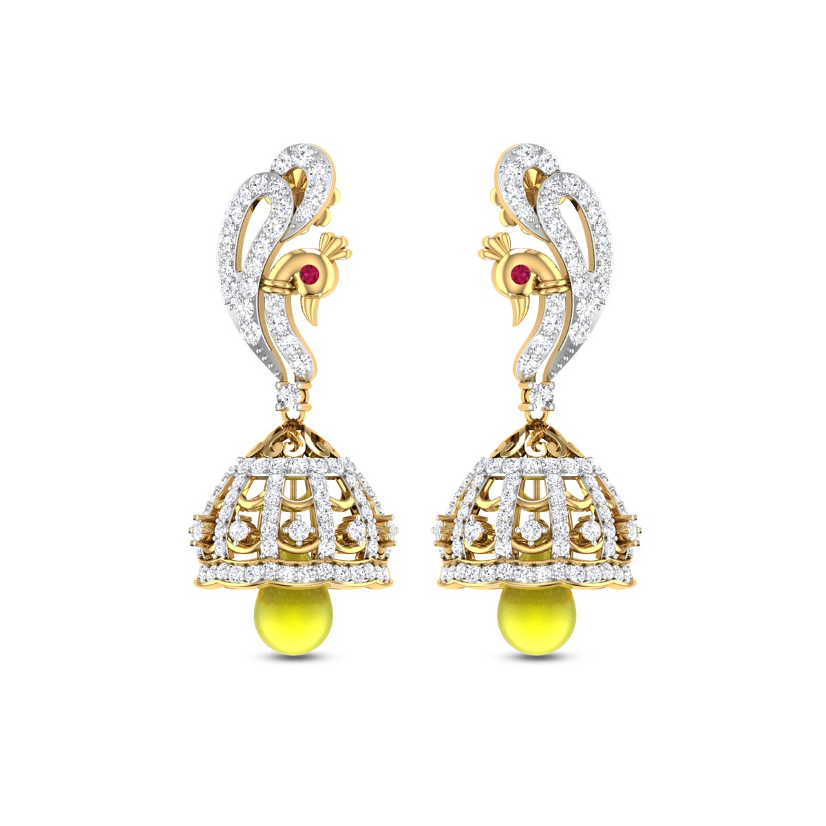 Peacock Ruby and Diamond Jhumkas