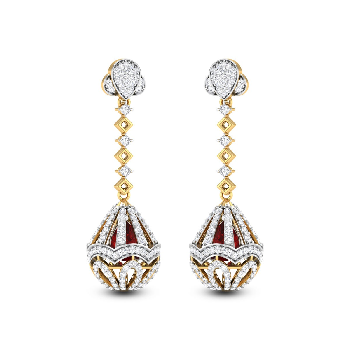 Dropping Elliptical Diamond Earrings