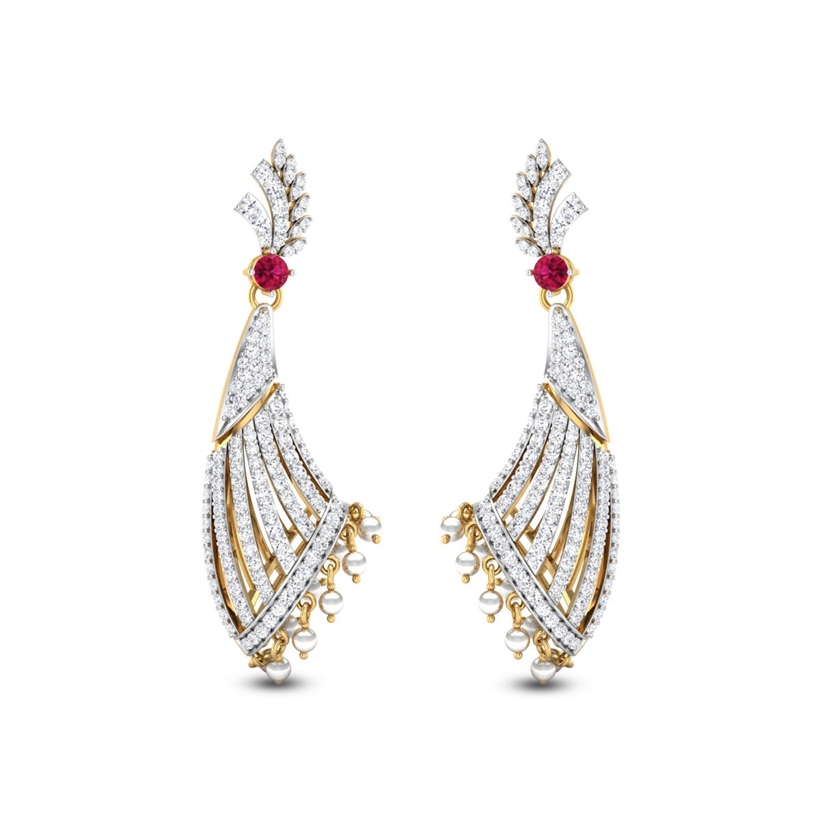 Leafy Flat Horn Diamond Earrings
