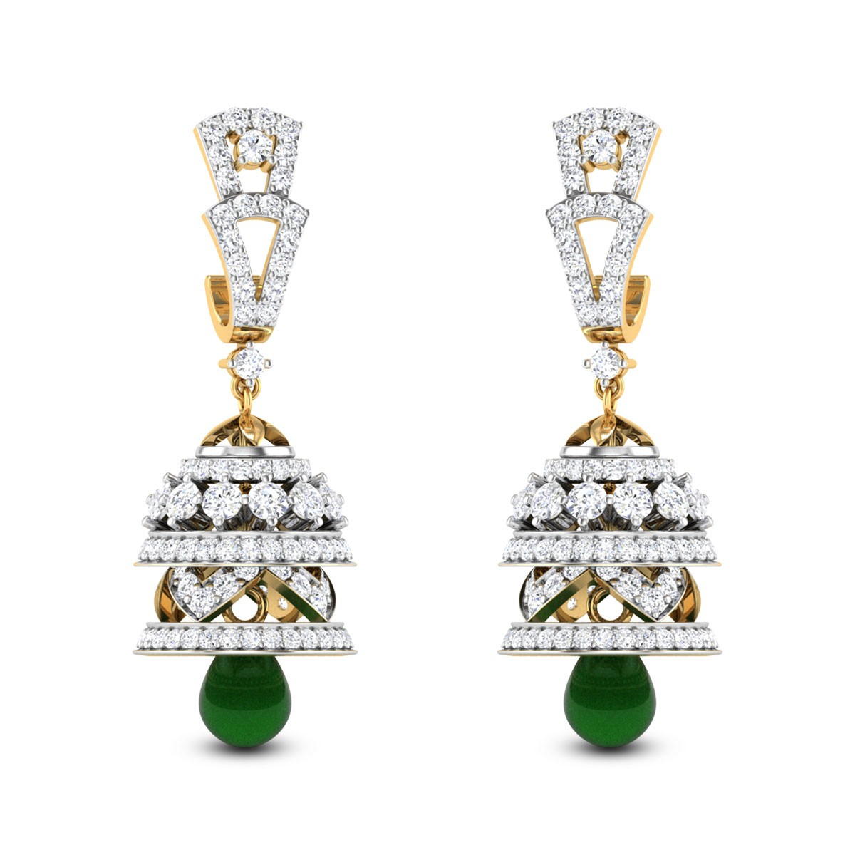 Jarita Emerald Drop Diamond Jhumkas