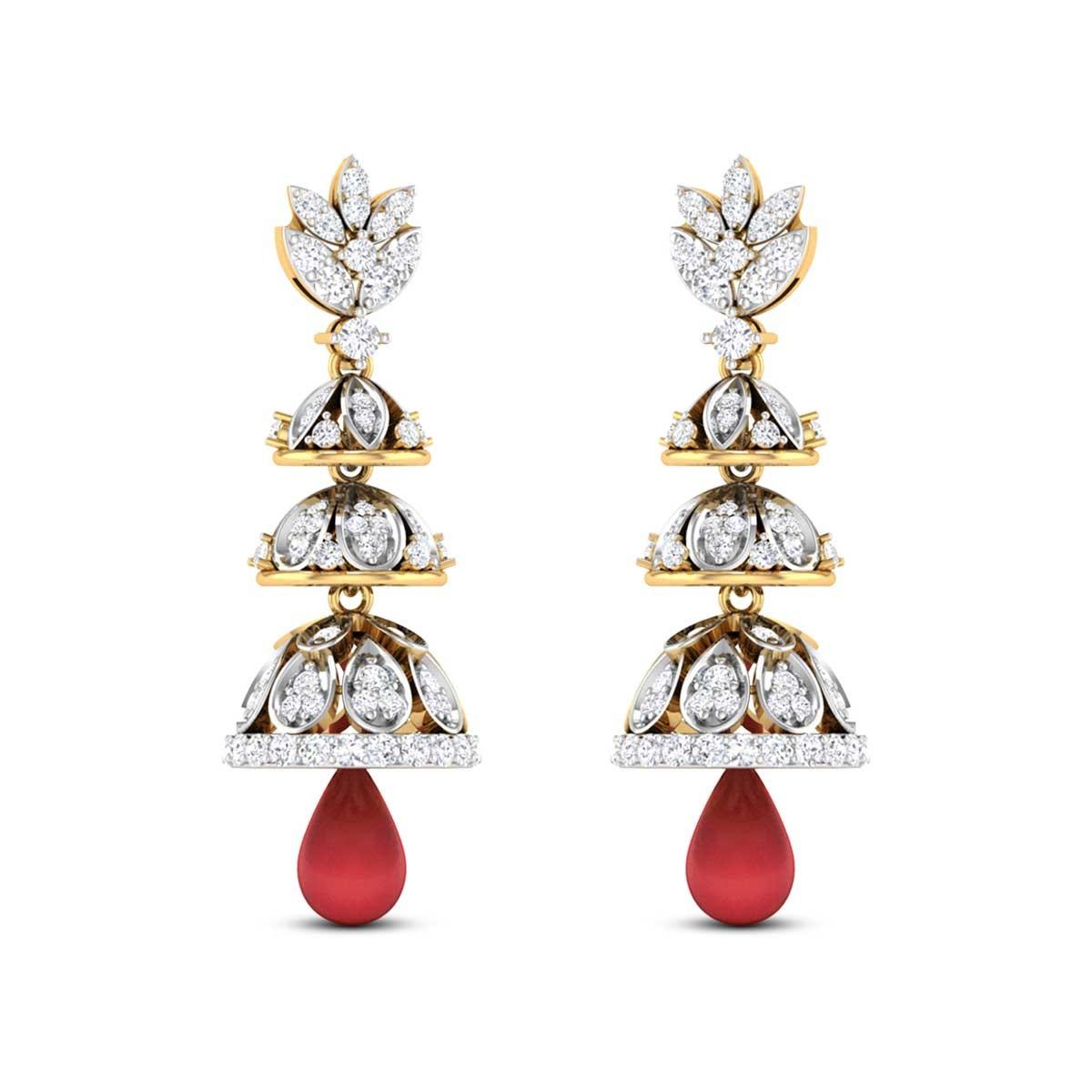 Minerva Three Layer Ruby Drop Diamond Jhumkas