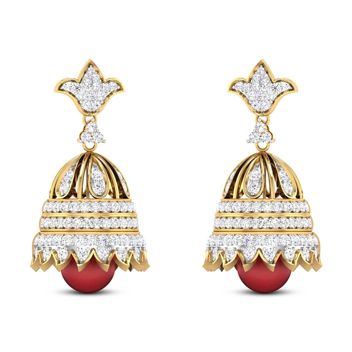 Bell Flower Ruby Drop Diamond Jhumkas