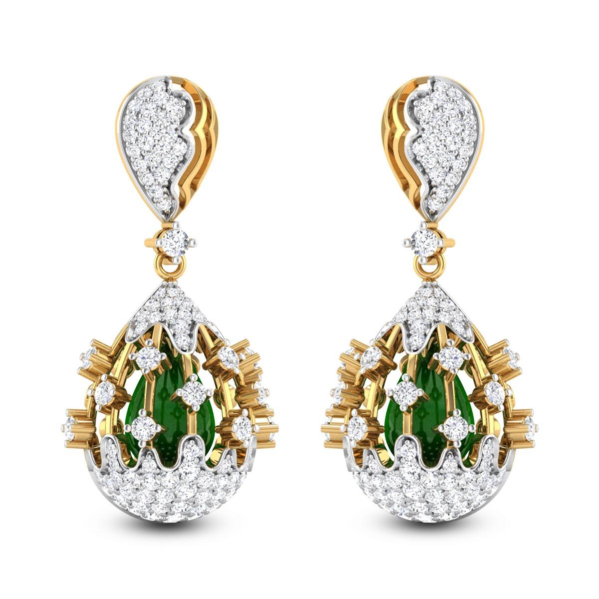Morpheus Emerald and Diamond Earrings