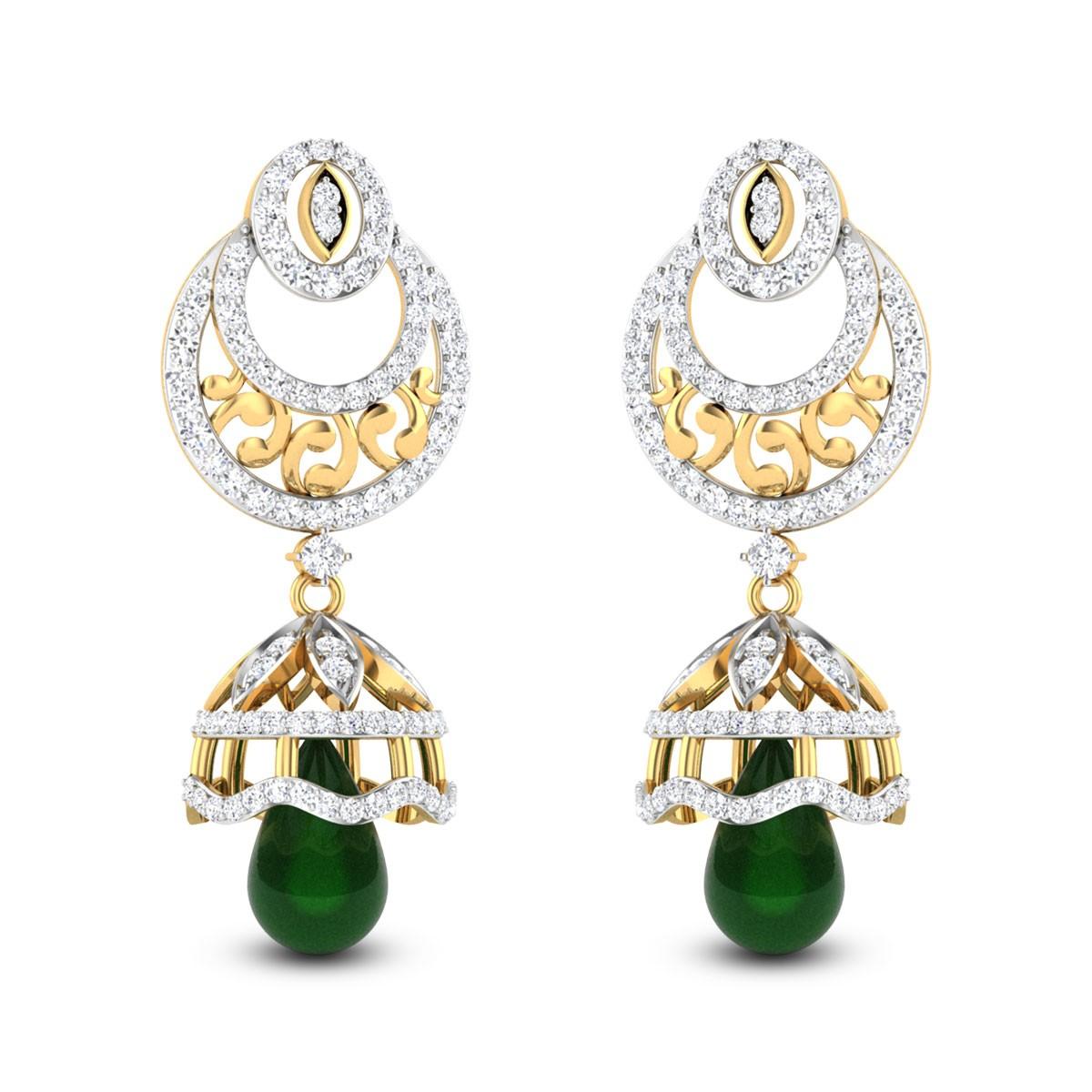 Aatish Emerald Drop Diamond Jhumkas