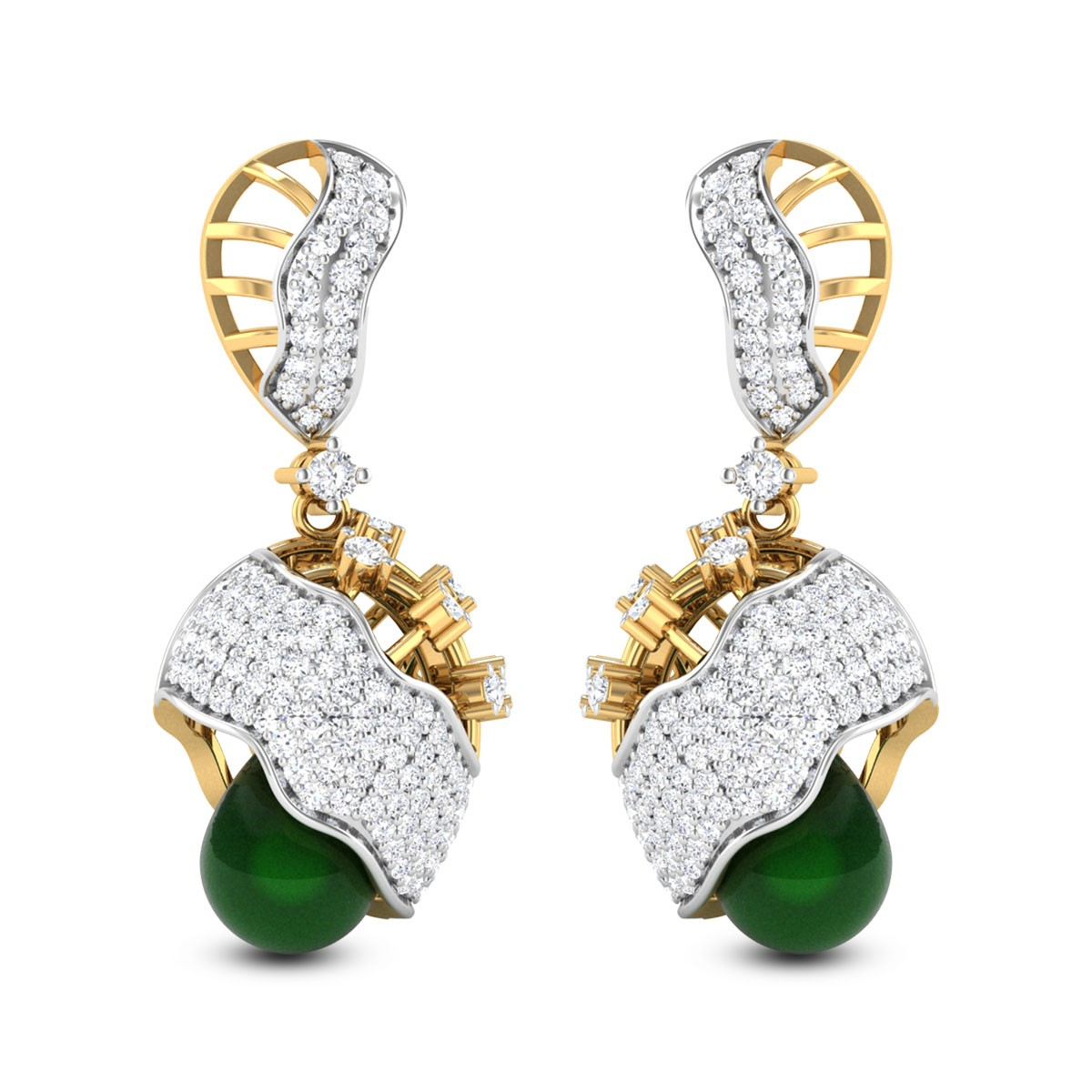 Achintya Emerald Drop Diamond Jhumkas