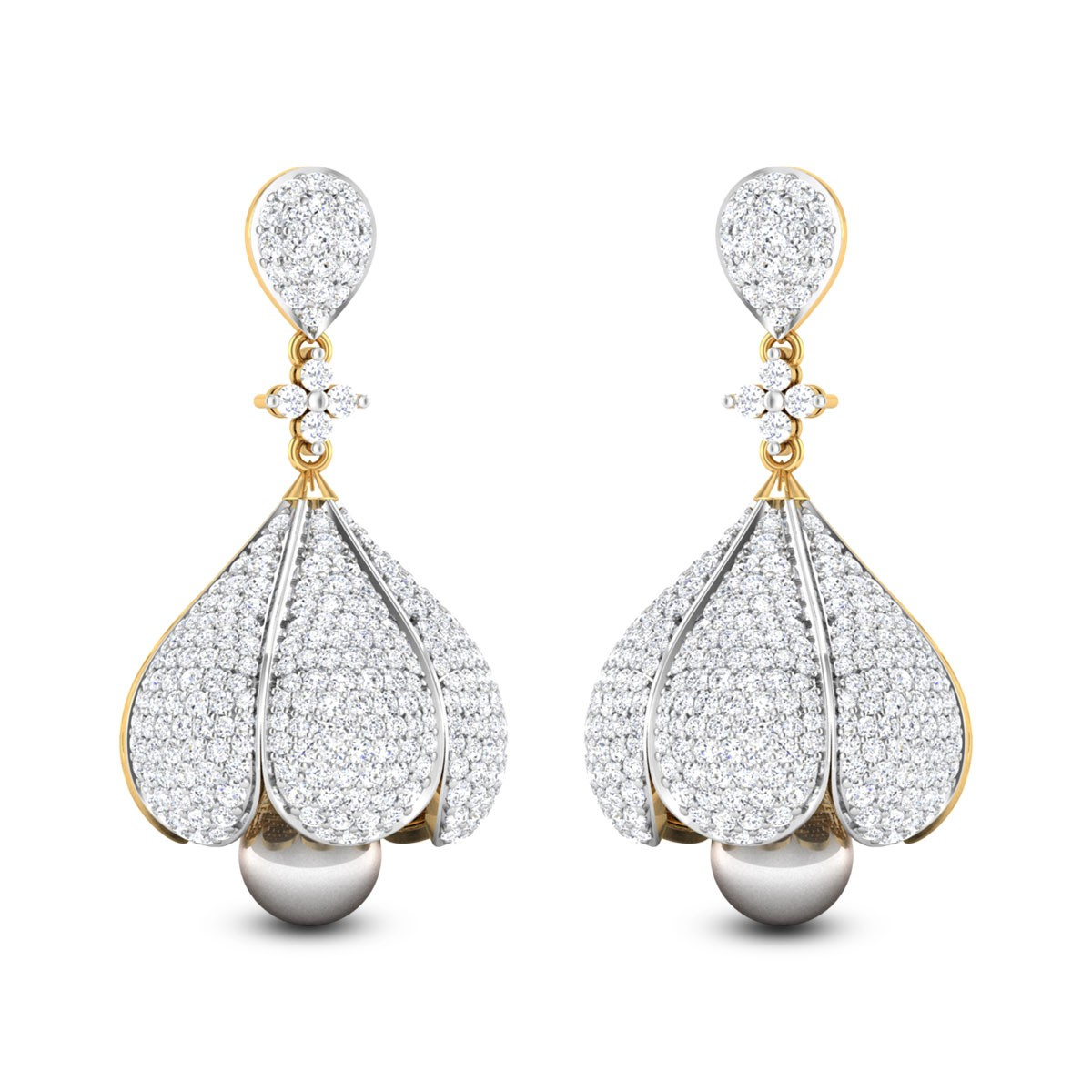 Baruni Pearl Drop Diamond Jhumkas