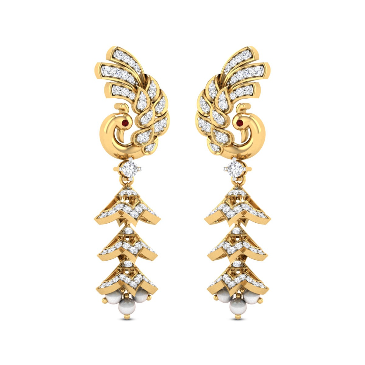 Shikhin Pearl Drop Diamond Jhumkas