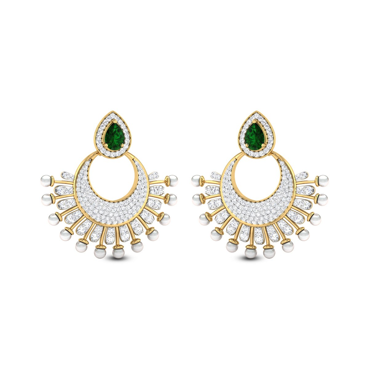 Pearl Frill Diamond Stud Earrings