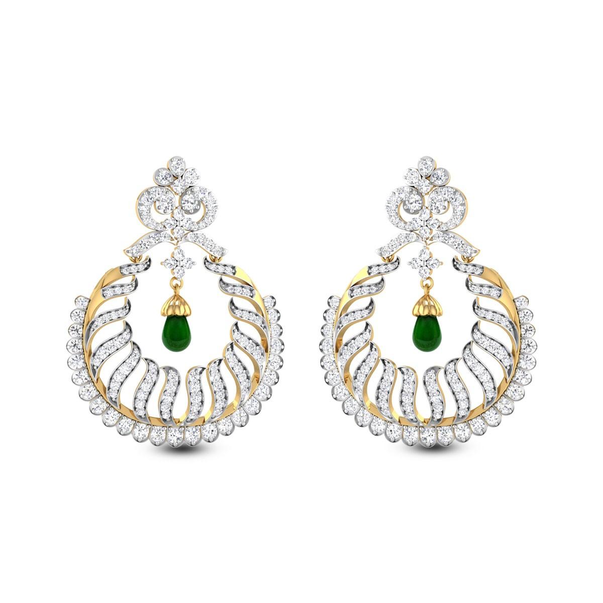 Emerald Drop Wavy Hanging Earrings