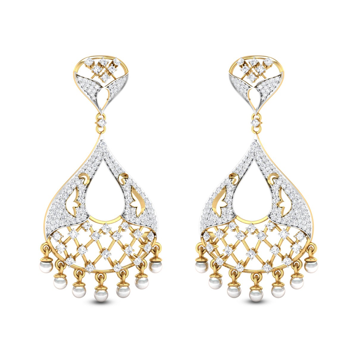 Lattice Pearl Drop Chandelier Earrings