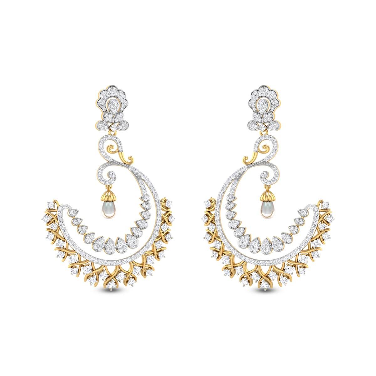 Half Moon Pearl Drop Chandelier Earrings